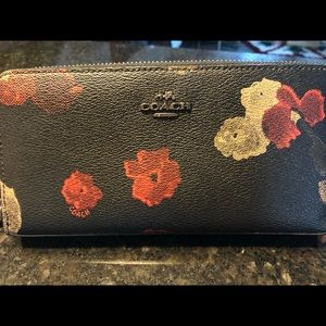 Leather Coach Zippered Wallet